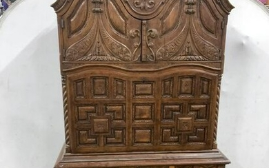 Antique Intricately Carved Wooden Secretary