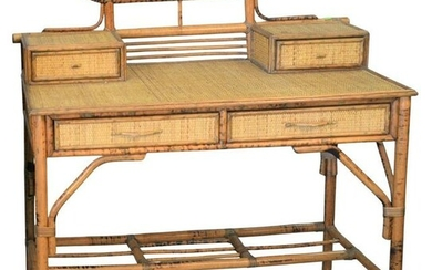 Bamboo and Rattan Desk having four drawers height 39