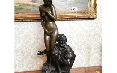 Bronze bust of a nude lady and gentleman mounted on rouge ma...