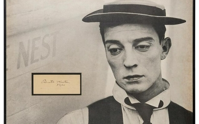 """Buster Keaton Clipped Autograph Display. Signed """""""