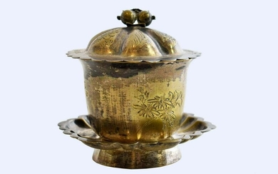 CHINESE SILVER PLATE COVERED CUP ON STAND