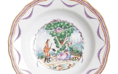 Chinese porcelain European Subject 'lady and hunter'