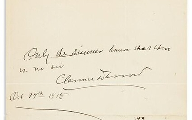 DARROW, CLARENCE. Autograph Quotation dated and Signed