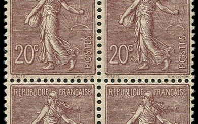 France - Semeuse with lined background. 20 centimes dark brown lilac block of 4, very well centred VVF - Yvert 131a
