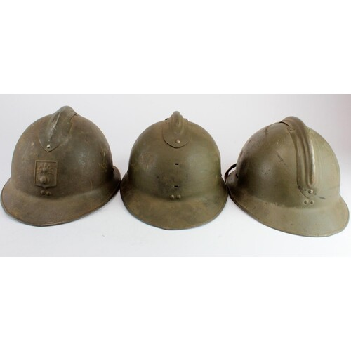 French 'DP' Defence Passive Helmet with others. (3)