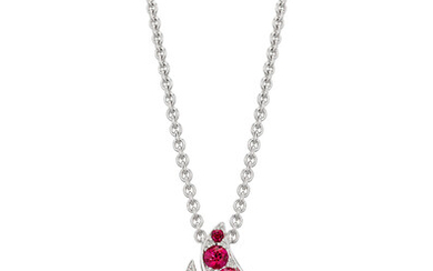 Graff, A Diamond and Ruby 'Flame' Pendant Necklace