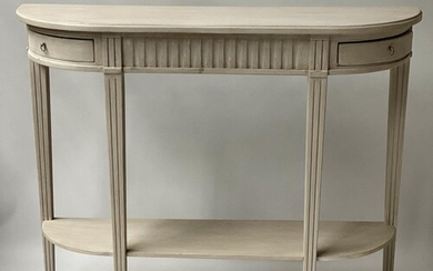 HALL CONSOLE TABLE, French Louis XVI style grey painted with...