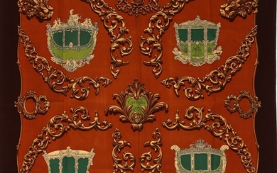 """NOT SOLD. Hermès: A silk scarf with motive """"Carrolses D'or"""" by Rybal Baroque in brown,..."""
