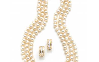 Jewellery set consisting of a three-strand cultured pearl necklace with a yellow gold diamond centerpiece and earrings, round and baguette…Read more