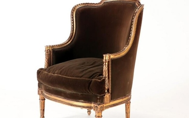 LOUIS XVI STYLE GILTWOOD FRENCH BERGERE CHAIR 1920