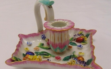 Meissen chamberstick with applied floral decoration, slight ...