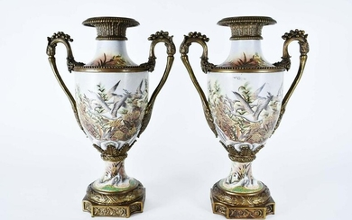 PAIR NEOCLASSICAL STYLE BRONZE-MOUNTED URNS