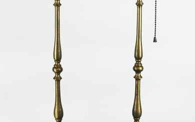 Pair of Knopped Brass Candlestick Lamps
