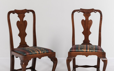 Pair of Queen Anne Carved Cedar Side Chairs