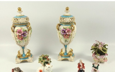 Pair of early 20th century continental porcelain vases and c...