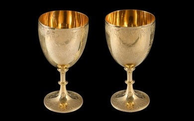 Pr Early Victorian Silver Gilt Goblets. London 1861, mark for William Stock