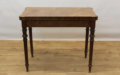 Rare Victorian burr walnut card table by Gillow & Co, rectangular fold over top with projecting angles, enclosing baize lined interior with dished corners, supported by pull out rear section, raise...