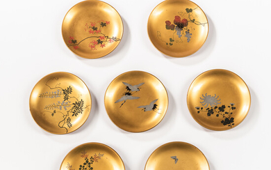 Set of Six Japanese Lacquer Dishes