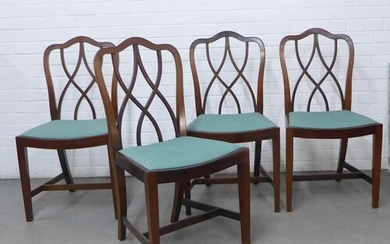 Set of four reproduction mahogany dining chairs with interla...