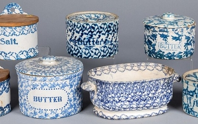 Seven pieces of blue and white spongeware, 19th c.