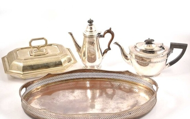 Silver-plated wares, including entrée dish, tea pot, gallery tray, etc, (one box).