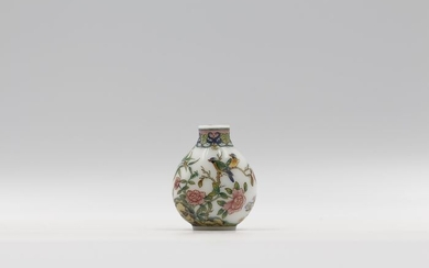 Snuff bottle - Enameled Glass - Flowers and Birds 1 - Signed by DOU MEI RONG - China - 21st century