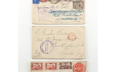 Stamps - World - Postal History: A box with many airmail and...