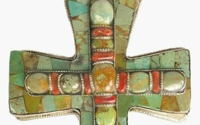 Sterling Silver & Turquoise Cross By DZI