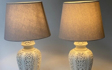 TABLE LAMPS, a pair, reticulated white ceramic of vase form ...