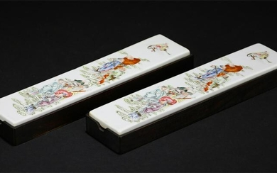 TWO FAMILLE ROSE 'FIGURAL' PORCELAIN PAPERWEIGHTS