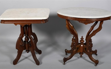 TWO VICTORIAN WALNUT SIDE TABLES