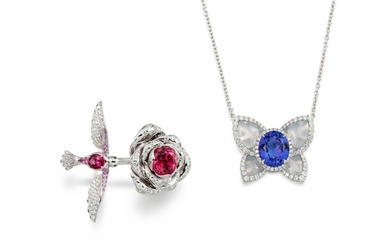 Tanzanite, Chalcedony and Diamond Pendent Necklace; and Pink Spinel and Tourmaline Ring | 坦桑石、玉髓 配 鑽石 項鏈; 及 粉紅尖晶石 配 碧璽 戒指