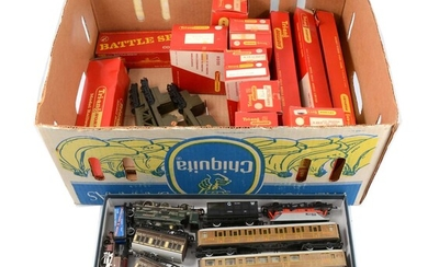 Tri-ang and Hornby OO gauge model railway locomotives and rolling stock.