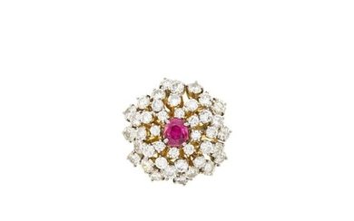 Two-Color Gold, Ruby and Diamond Cluster Ring