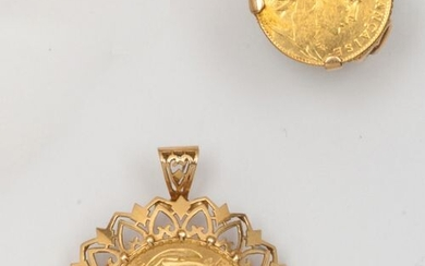 Yellow gold lot, comprising a ring set with a 10...