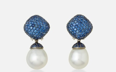 Yvel, Sapphire and South Sea cultured pearl earrings
