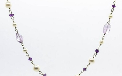 18k Gold Amethyst and Pearl Necklace