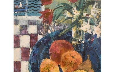20th Century School, A still life study of fruit and flowers...