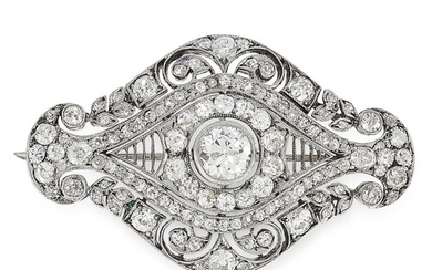 A BELLE EPOQUE DIAMOND OPENWORK BROOCH, of marquise shape wi...