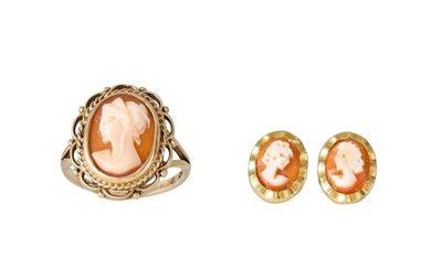 A CAMEO RING, mounted in 9ct gold, together with a pair of s...