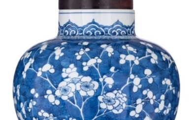 A Chinese blue and white 'Prunus' vase, 19thC,...