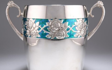 A LARGE GERMAN ART NOUVEAU SILVER-PLATED AND ENAMEL ICE