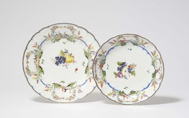 A Meissen porcelain dinner plate and side dish from the dinner service for Count Finck von Finckenstein