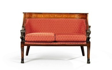 A Napoleon III bronze mounted mahogany and fruitwood marquetry canapé, second half 19th century