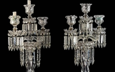 A PAIR OF BACCARAT CANDELABRA