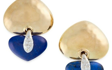 A PAIR OF LAPIS LAZULI AND DIAMOND EARRINGS in 18ct