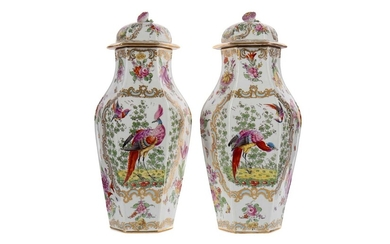 A PAIR OF LATE 19TH CENTURY CONTINENTAL PORCELAIN VASES AND COVERS