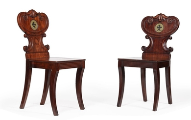 A PAIR OF WILLIAM IV MAHOGANY HALL CHAIRS, IN THE MANNER OF GILLOWS, CIRCA 1835