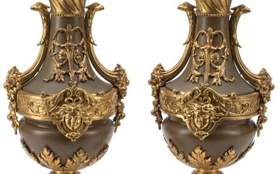 A Pair of Napoleon III Patinated and Gilt Bronze