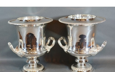 A Pair of Silver Plated Two Handled Wine Coolers with inner ...